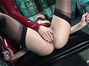 girl-on-girl spandex bimbos enjoy sexual insertions