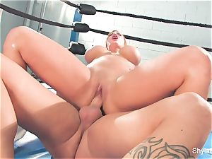buxomy blond Shyla Stylez does some xxx training