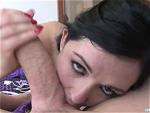 Angell Summers thrusts this rigid manhood down her facehole