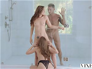 voluptuous 3some with Tori dark-hued and quirk