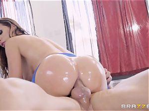 mischievous oiled up Nikki Benz thrashed in her bootie