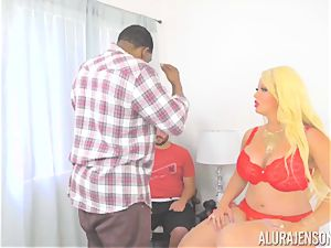 cougar Alura Jenson makes her daughters-in-law beau observe as she gets porked