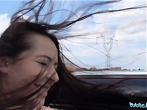 PublicAgent super-fucking-hot dark-hued haired Russian drilled on a car