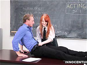 redhead schoolgirl riding her schoolteacher