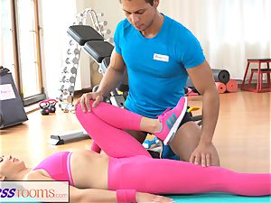 FitnessRooms Gym educator pulls down her yoga trousers