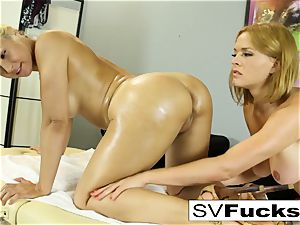 Sarah gets a deep tissue massage from Krissy