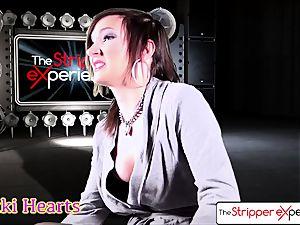 The Stripper practice - Nikki railing a large stiff manstick