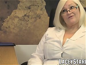LACEYSTARR - GILF slurps Pascal white spunk after intercourse