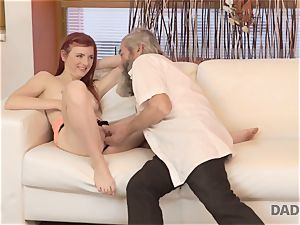 DADDY4K. fellow and his elderly dad team up to punish sex-positive gf