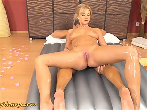 big-titted nubile gives slimy massage