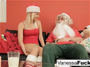 Vanessa letting Santa ravage her cock-squeezing raw cunt