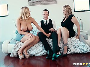 two cougars with phat globes ravage a lucky bloke