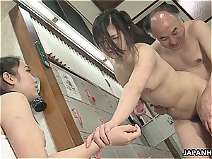 japanese tramps are getting pulverized in a steamy spa