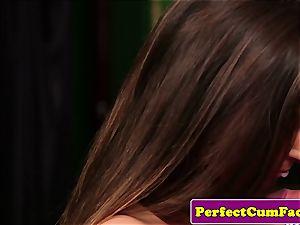 UK college girl wanking before facial jizz shot