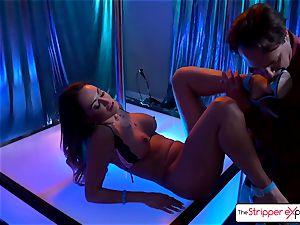 Claudia Valentine undress and get a fat jizz-shotgun in her culo
