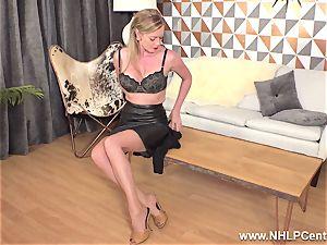 light-haired fingering wet vag in vintage nylons high stilettos