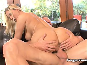 huge-boobed mummy blond gets doggystyled and creampied