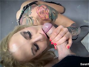 point of view fellatio with eyes covered cougar Sarah Jessie