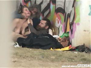 Homeless three-way Having fuck-fest on Public