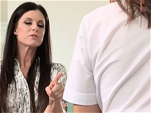 Aspen Ora and India Summer share a hard throbbing man-meat