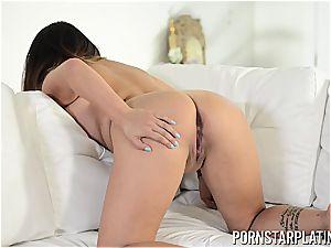 round asian Gigi Skye touching one out
