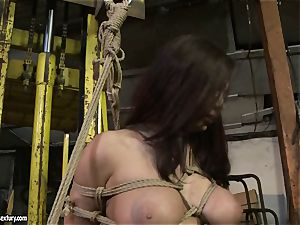 Kathia Nobili slapping the bootie of steamy female with whip