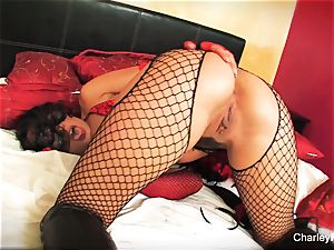 Dolled up Charley chase plays with her honeypot
