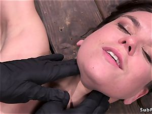 brunette in upside down suspension tortured