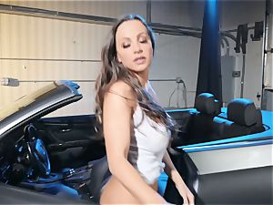 Abigail Mac drooling on a huge man rod