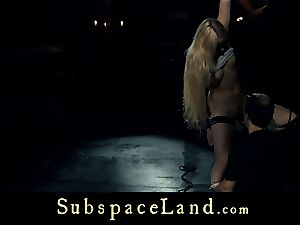 gimp woman blond pleasured and disciplined in obedience
