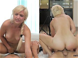 two pretty ladies deep throating on spunk-pump