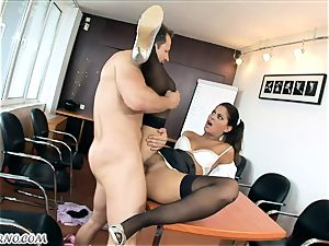Office ass-fuck porno with dissolute sultry secretary Defrancesca Gallardo