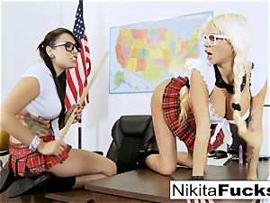 Classroom taunting leads to girl/girl fuckin'