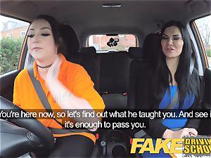 faux Driving school big-boobed girl-on-girl ex-con tongues warm vulva