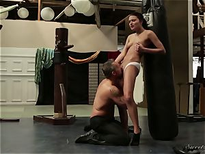 step-dad pokes his youthful stepdaughter after a workout