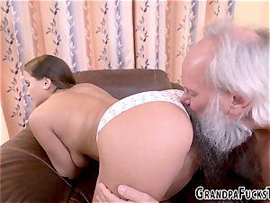 nubile stuffed by elderly man