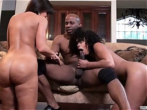 Lisa Ann and Misty Stone spit over this rock-hard shaft
