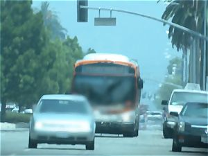 Karmen Bella pulverizes her guy on a crowded bus