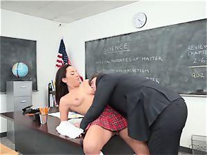 Amara Romani is slammed by the educator across his desk