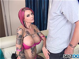 Anna Bell Peaks steamy jizm swallowing trio