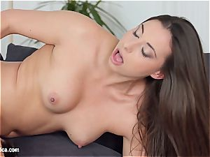 lesbian strap-on morning pound on comfortable couch