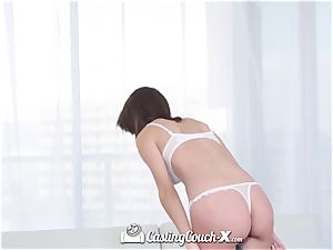 CastingCouch X dark-haired Cece Capella poked with facial