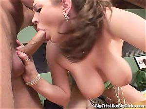 honey With ample funbags tears up A giant pipe