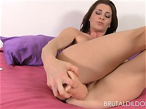 Cici Rhodes punishes her pink slit with brutish fuck sticks