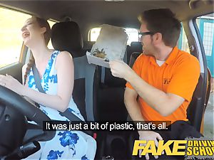 fake Driving college Nerdy red-haired teenager student
