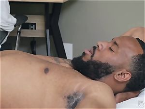 interracial porno with steaming lovely blonde Zoey Monroe and dark-hued boy