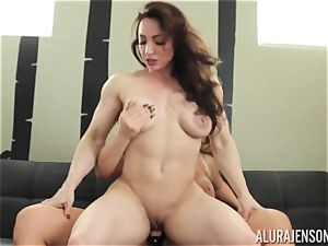 Alura Jenson fuckbox packed with belt dick powerful muscular lady Brandi May