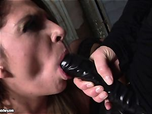 Kathia Nobili lets a sizzling nymph blow her strap on