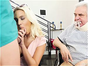 big-chested light-haired romps a male nurse in front of her sugardaddy