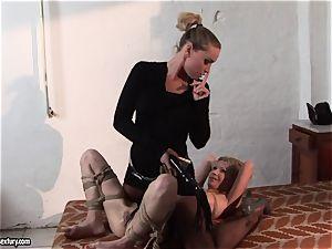 Kathia Nobili putting some pin in sizzling babe's bra-stuffers